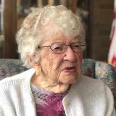 Iris Westman in August 2018, aged 113.