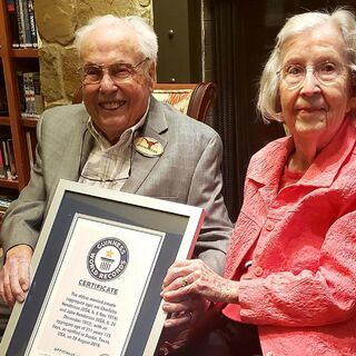John and Charlotte Henderson being recognised as the oldest living couple by Guinness World Records, 28 August 2019.