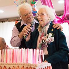 Edie Ceccarelli celebrating her 110th birthday.