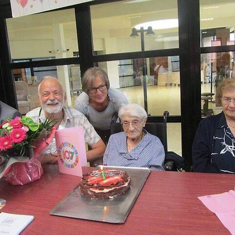 Marie-Louise Berthelot on her 107th birthday.