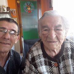 Benegas on her 111th birthday with her grandson Tomas Antonio Blanco.