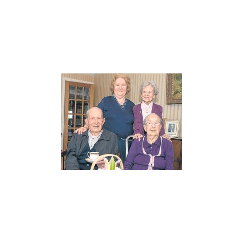 Alf Smith (front-left) at age 107, Neen Reid (front-right) at age 103, Jessie Sinclair (back-right) at age 105 on 1 May 2015.