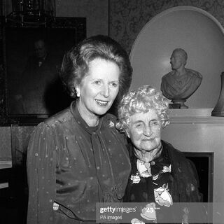 Hughes at the age of 108, with Prime Minister Margaret Thatcher in 10 Downing Street