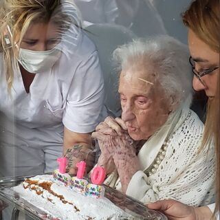 Aida Carmen Gandine Dodera on her 110th birthday