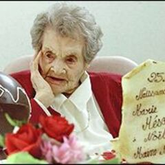 Marie Bremont on her 115th birthday.