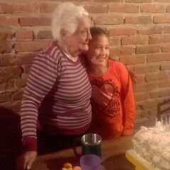 Aurora at 108 with her great-great-granddaughter Cami.