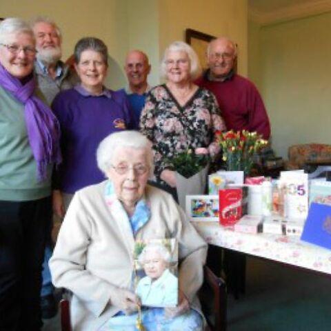 Gertrude Kingston celebrating her 105th birthday.