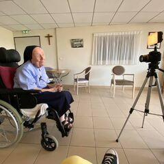 Randon, aged 116, being interviewed in August 2020