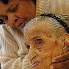 Emma Tillman at age 114 with great-granddaughter Carol Stewart.