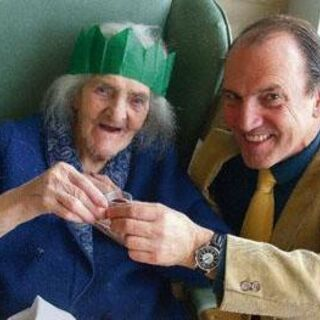 Jones at the age of 110, with MP Simon Hughes