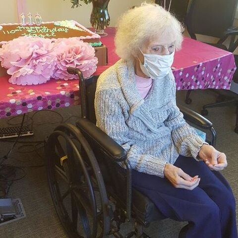 Hazel Young celebrating her 110th birthday