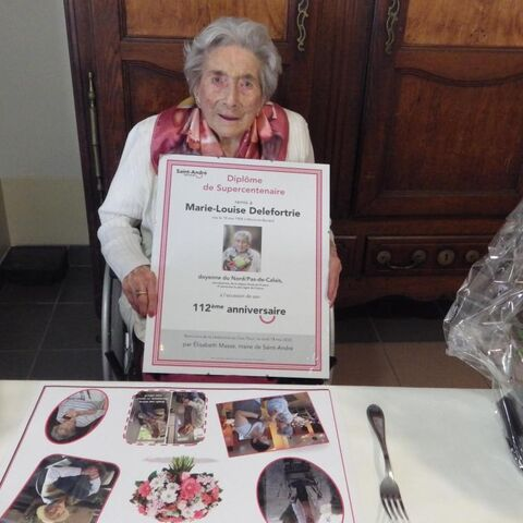 Marie-Louise Delefortrie on her 112th birthday.