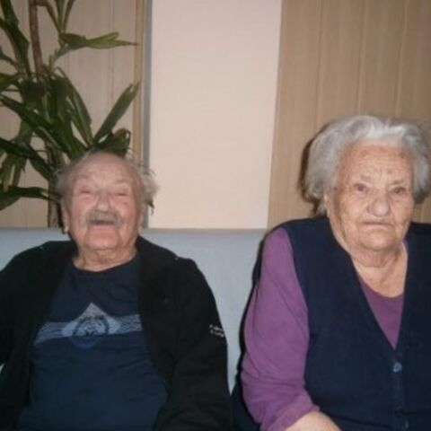 Josip Krsul (aged 102) and her sister Jelena Jelicic (aged 100).