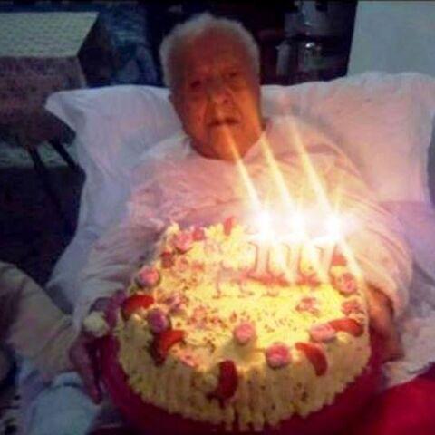 Maria Oliva on her 111th birthday.