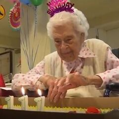 Thelma Sutcliffe celebrating her 111th birthday