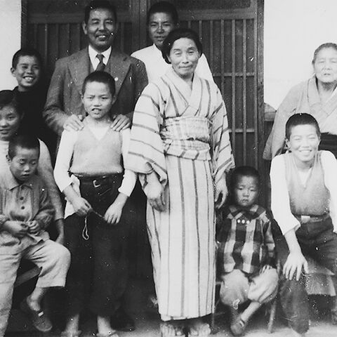 Nara (center) with her family around 1951.