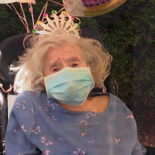 Plummer celebrating her 112th birthday during the COVID-19 pandemic
