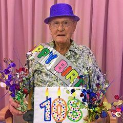 Kruger celebrating his 108th birthday