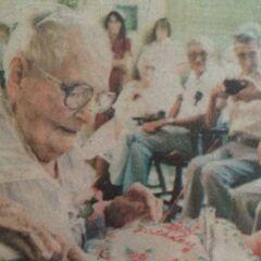 Augusta Holtz on her 112th birthday