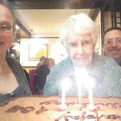 Joan Hocquard on her 108th birthday.