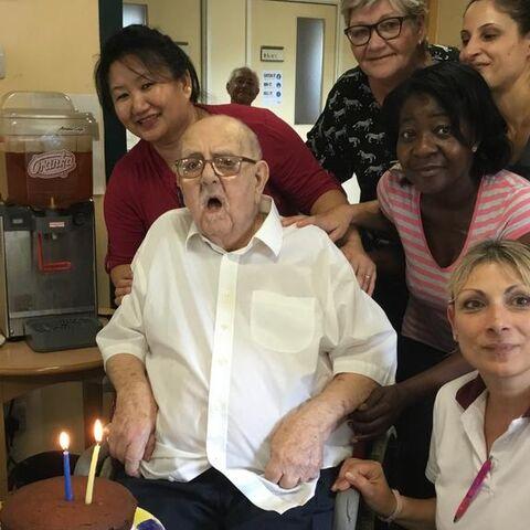 Ben Raymond on his 107th birthday.