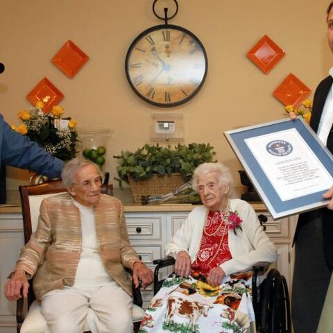 Edna Parker (seated right) at 114 and Bertha Fry at 113 (seated left) being honored by <a href=