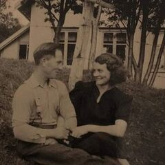 Andersen in early 1930s with her second husband, after she moved to Leirfjord.