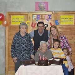 Benegas on her 109th birthday with her relatives.