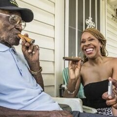Richard Overton smoking shortly before his 109th birthday.