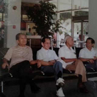 Flaviano Jubane (second from left) with three brothers Valentin Jubane (1913–2016), Rufino Jubane (1907–2000) and Tiburcio Jubane (born 1926) in the 1980's.