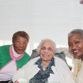 Avicia Thorpe (center) on her 108th birthday