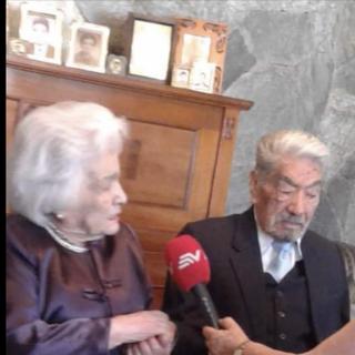 Julio Cesar Mora on his 110th birthday, with his wife Waldramina Quinteros.