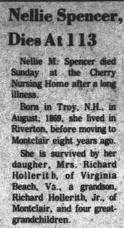 Nellie Spencer 1869-1982 obit