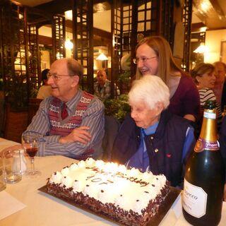 Joan Hocquard on her 107th birthday.