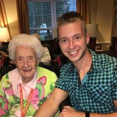 Thelma Sutcliffe at the age of 113 with GRG-Nebraska Correspondent, Ethan Unruh