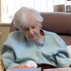 Joan Hocquard on her 112th birthday.