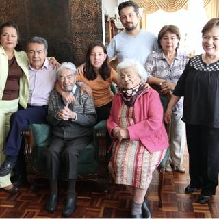Julio Cesar Mora at age 108, with his wife Waldramina Quinteros at age 103.