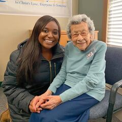 Kabance at the age of 109 in November 2019, with KSNT journalist Kelli Peltier