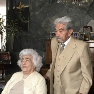 Julio Cesar Mora at age 110, with his wife Waldramina Quinteros at age 105 in June 2019.