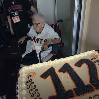 Lucy Mirigian on her 111th birthday (claims 112).