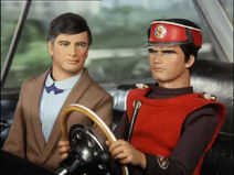 Captain Scarlet driving to the London Car-Vu