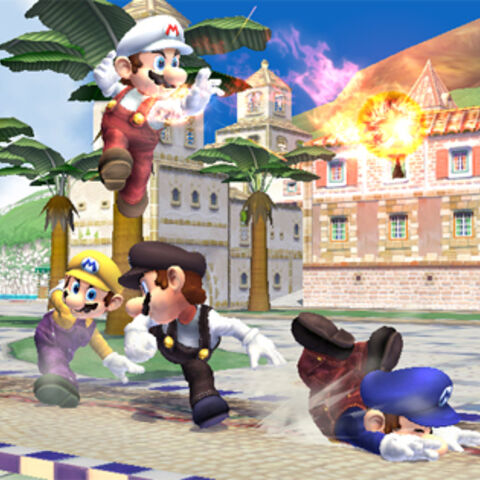 Mario's fighting, the Red/Blue one is tripping