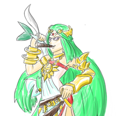 Palutena with aviator shades, a cigar and Paletuna slung over her shoulder as requested by HeyWheresKel and drawn by ToastyPudding.