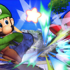 Luigi beating the   out of Kirby with his .