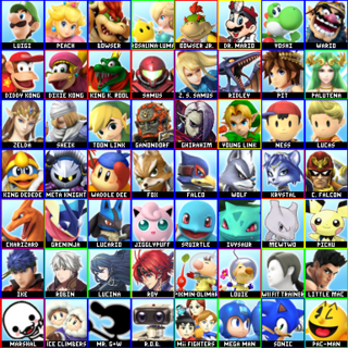 His 70 character roster. Yellow outlines are Melee characters cut from Brawl, red ones are unconfirmed newcomers, and green ones are confirmed newcomers.