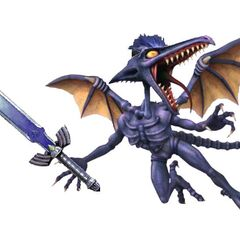 Ridley as a blue-haired swordsman, hoping to please Sakurai.