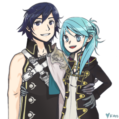Marth and Peach's descendant Chrom with his wife Robin.