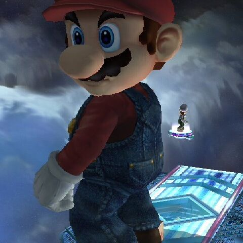 The maximum height that a Mario can grow to, being compared to the size of Luigi.