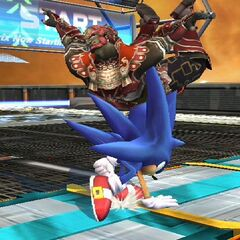 Sonic impaling  with his spines.