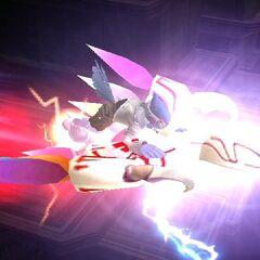 Falco riding on the dragoon.